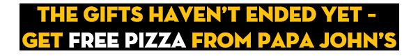 Get a FREE PIZZA from Papa John's and NBC Sunday Night Football